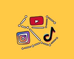 Social Media Illustration of Major company logos