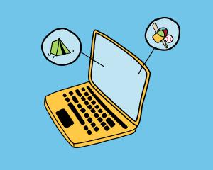 Virtual Programming Illustration of Laptop